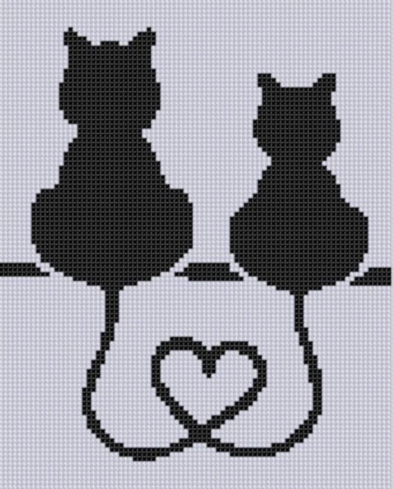 Photo of Cat Heart Cross Stitch Pattern