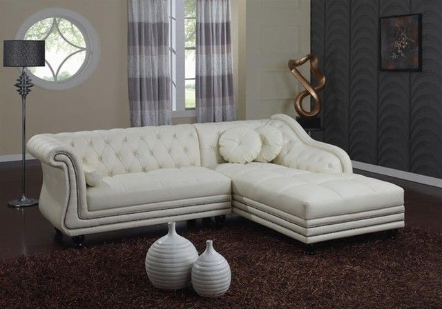Traditional White Leather Sectional Sofa With Chaise And Cushions