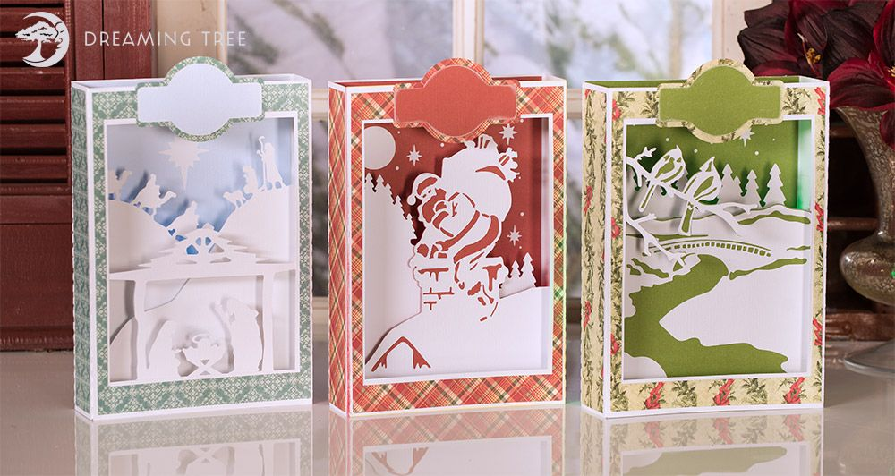 Christmas Paperscape Box Cards SVG Bundle Birthday card