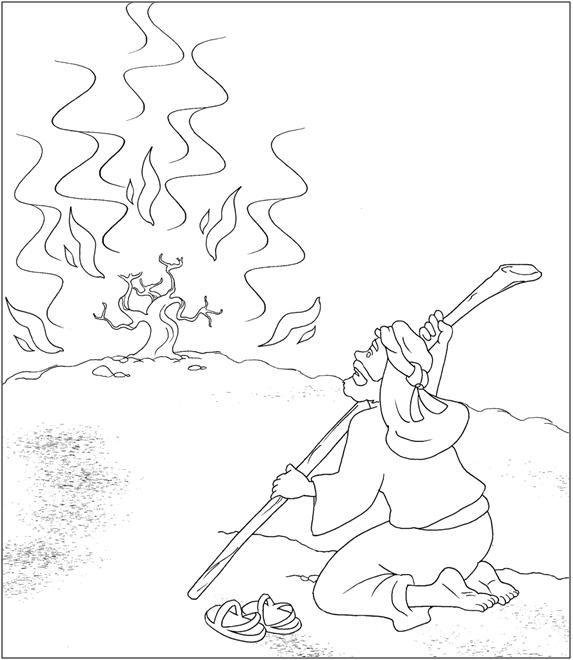 Moises7 Jpg 573 660 Zarza Ardiente Paginas Para Colorear De Biblia Dibujos