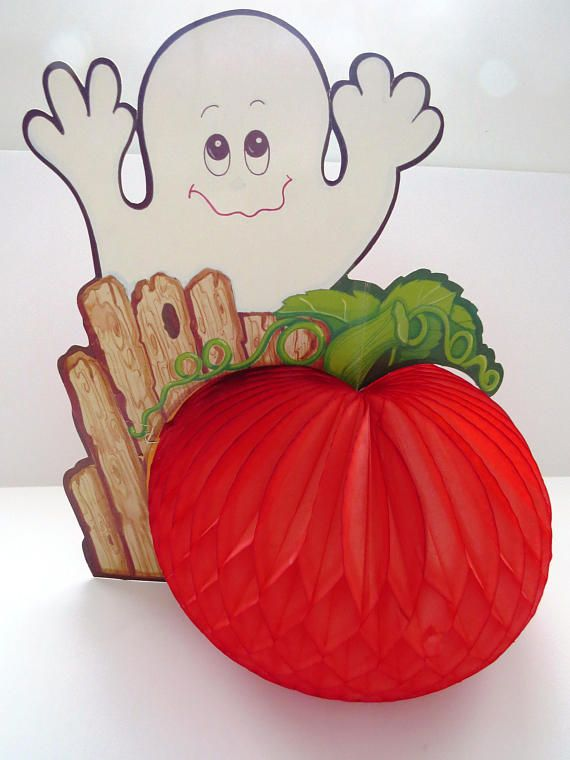 Vintage Halloween Decoration - White Ghost with Orange Honeycomb - vintage halloween decorations