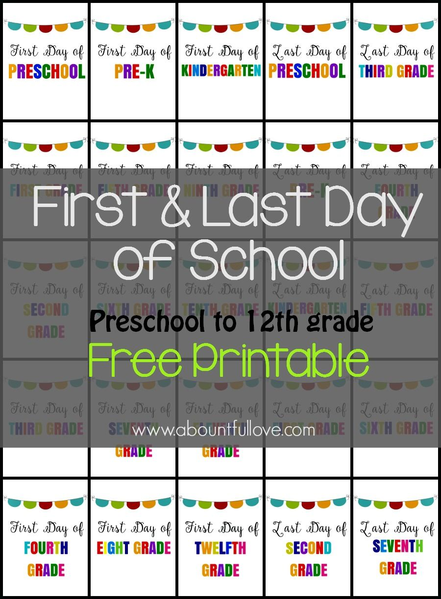 photograph about Last Day of Preschool Sign Printable identified as Initial and Remaining Working day of College or university Indicator Printable Child things