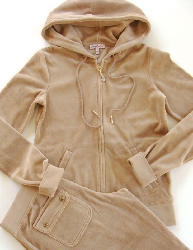 38e8fadbd095 Juicy Couture J Bling Tracksuit Hoodie Pocket Pants Velour Amaretti Beige  Khaki - SunnyBeachCouture