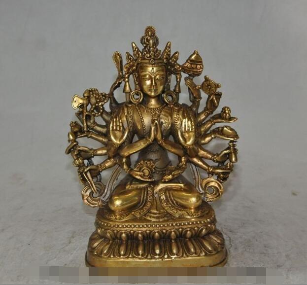 Tibet Buddhism Silver Copper Gilt four hands Arm Kwan-Yin Guan Yin Buddha Statue
