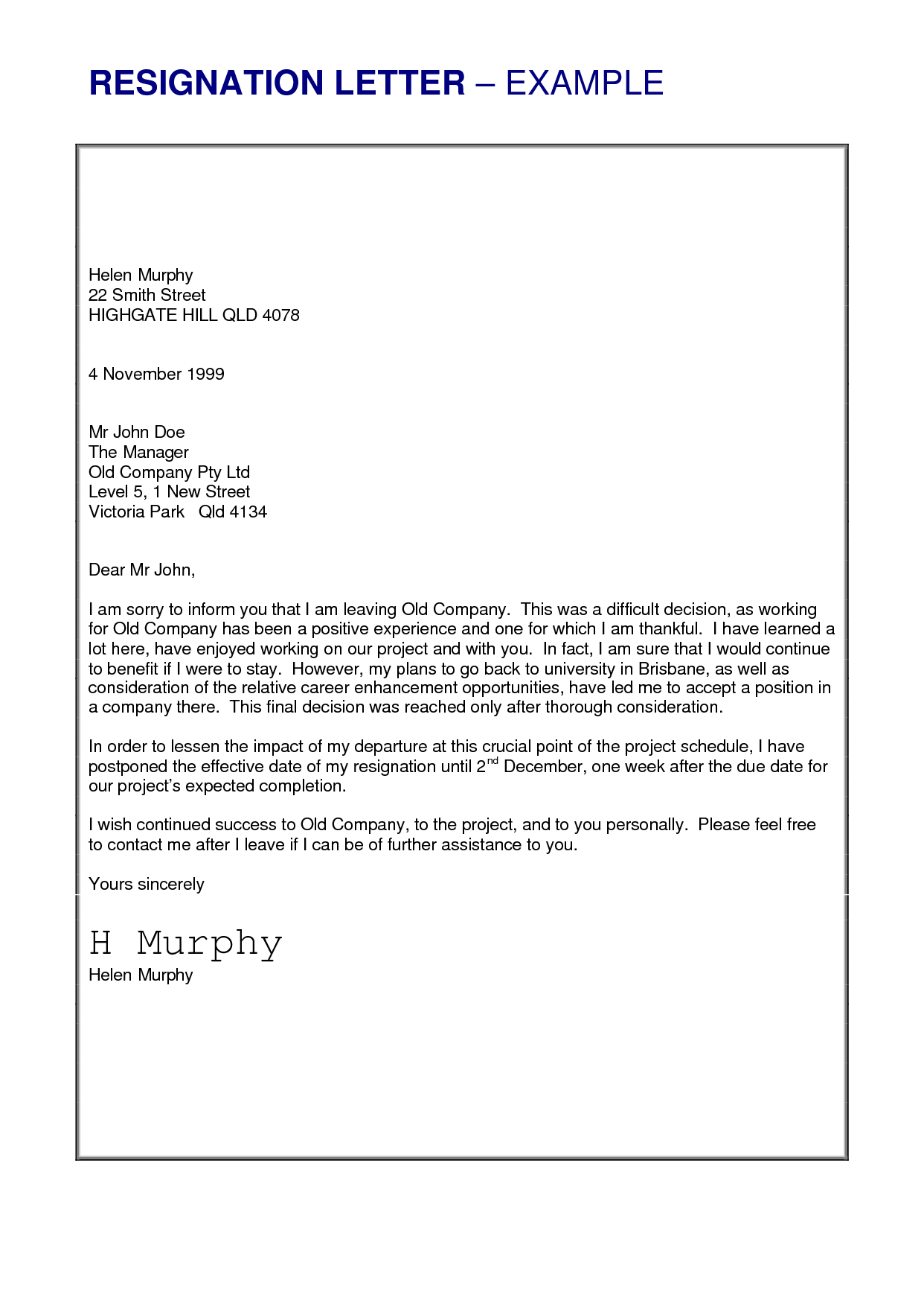 Job Resignation Letter Sample Loganun Blog – Sample Letter of Resignation Template