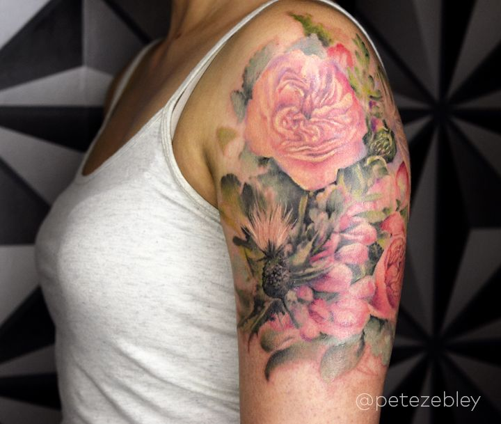 Watercolor Floral Wedding Bouquet Tattoo By Pete Zebley At Central