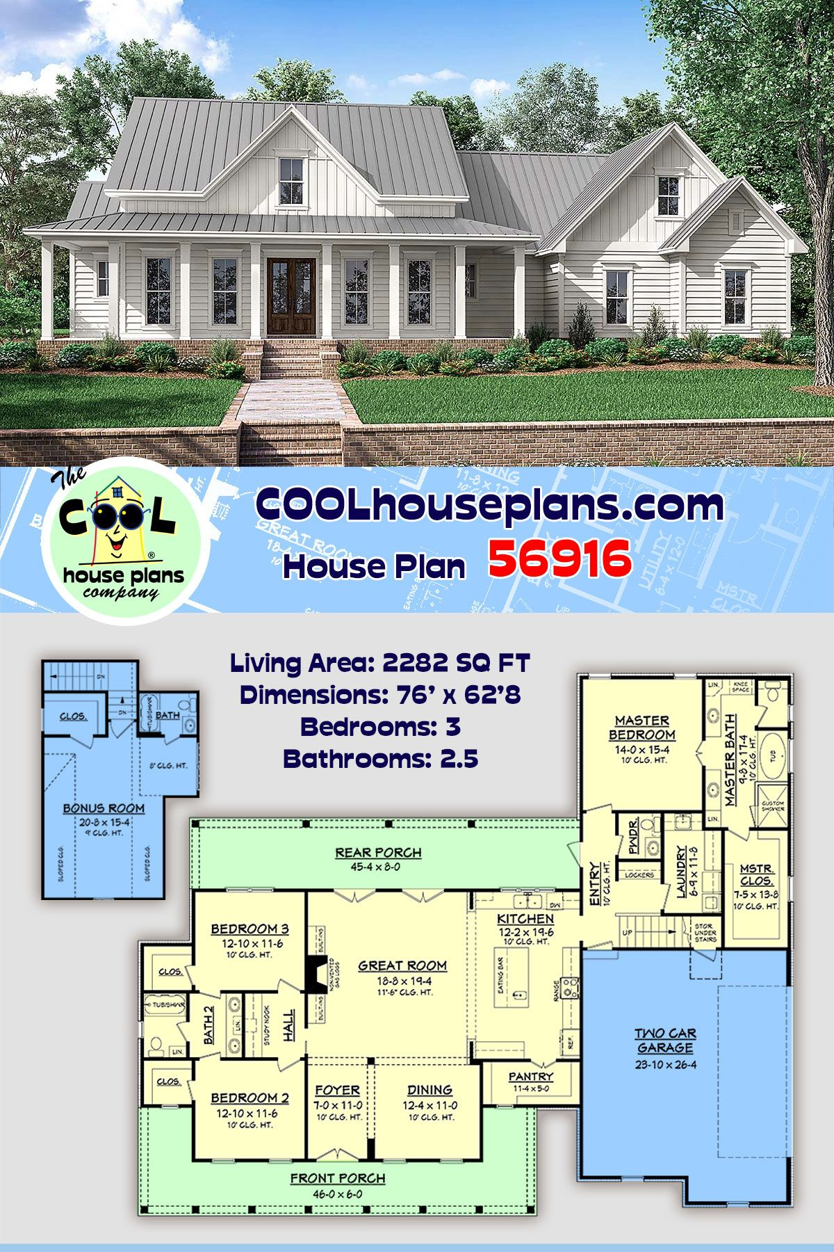Traditional Style House Plan 56916 With 3 Bed 3 Bath 2 Car Garage In 2020 Southern House Plans Craftsman Style House Plans Basement House Plans