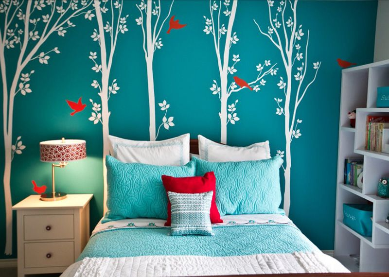 Turquoise Walls, White Trees, Red Birds In A Girls Room By Robin Gonzales  Interiors
