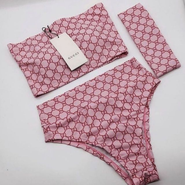 Custom Pink GG Web Inspired 3 Piece Bikini Set