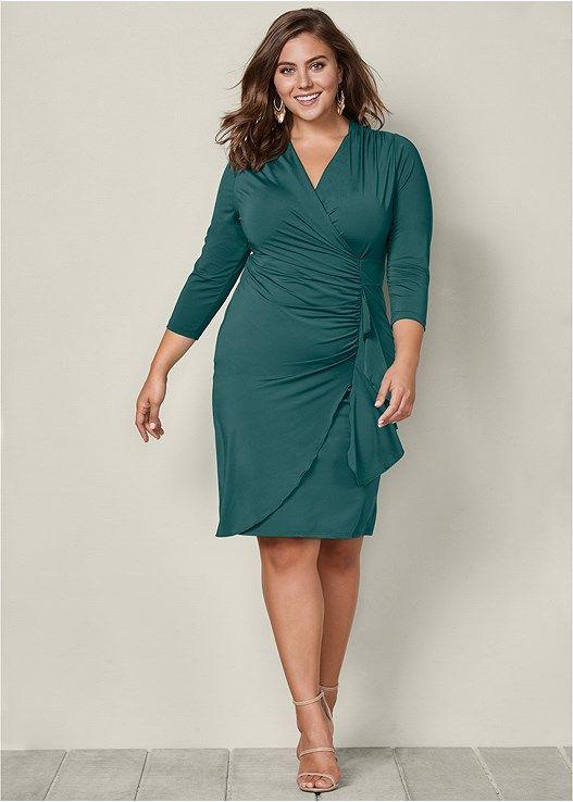 1251c5a0b24 Venus Women s Plus Size Side Ruffle Dress - Green