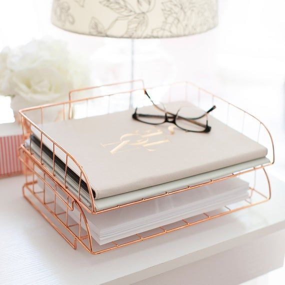 Blu Monaco Rose Gold Desk Organizer Stackable Paper Tray Set Of 2 Metal Wire Two Tier Tray Stack Rose Gold Room Decor Gold Room Decor Rose Gold Rooms