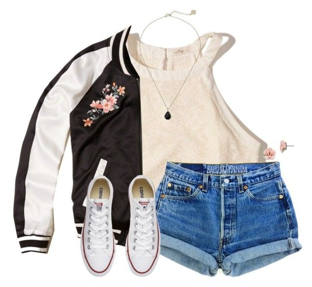"""~monday~"" by victoriaann34 ❤ liked on Polyvore featuring Hollister Co., Converse, Kendra Scott and 1928"