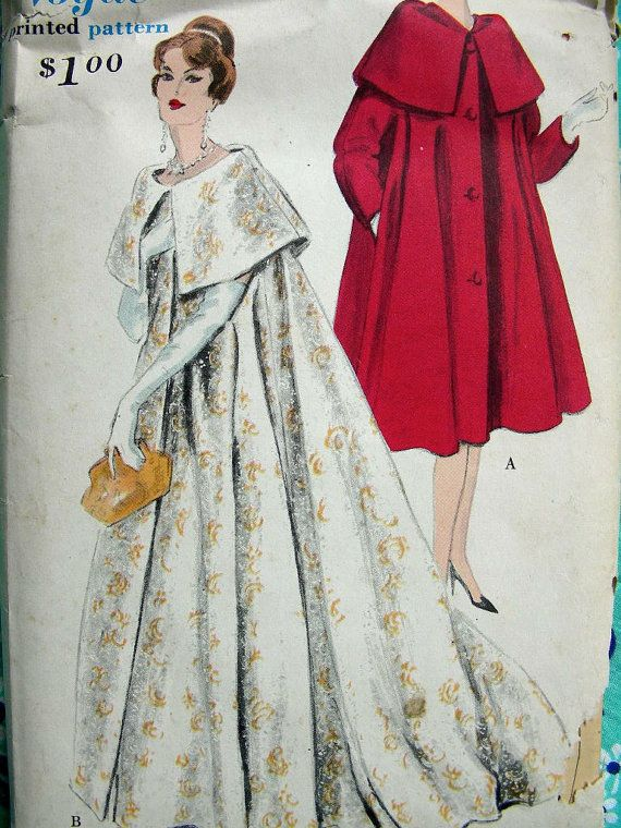 Vintage 1950s VOGUE Pattern 9823 - RARE - Hollywood Glamour Coat ...