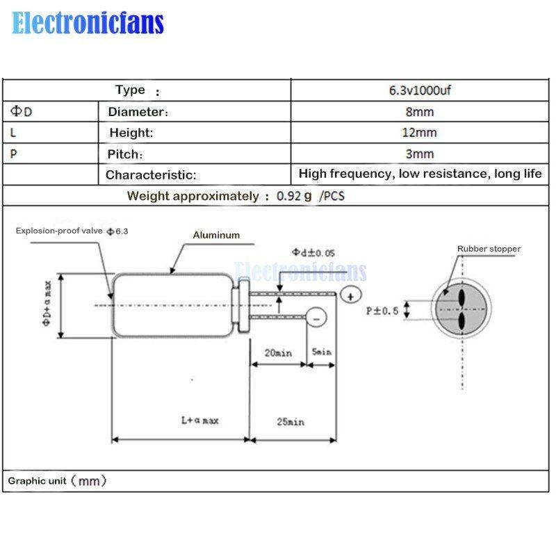 1 /μf 63V, 10 Radial Aluminium Electrolytic Capacitor /±20/% 10V, 16V, 25V, 35V, 63V, 100V
