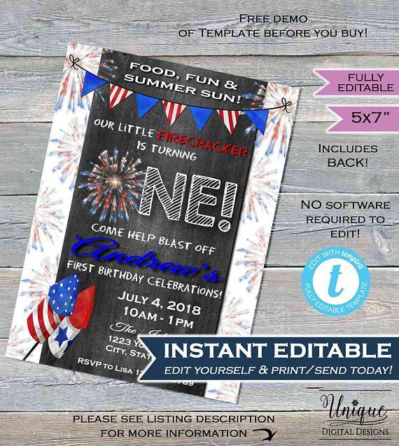 One Firecracker Birthday Invitation 4th Of July First Invite Firework Chalkboard Templa