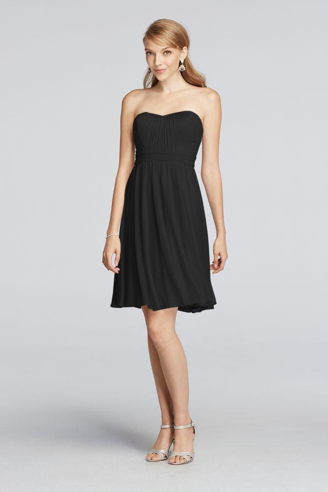 Mesh Above the Knee Strapless Dress Black, 16 | *David's