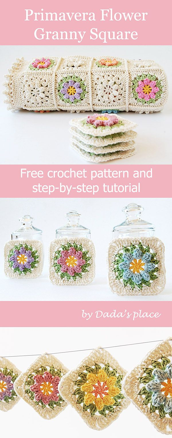 Free crochet pattern: Primavera flower granny square pattern and step-by-step tutorial, suitable for beginners, designed by Dada's place #freecrochet #crochetforbeginners #dadasplace #grannysquare #grannysquares