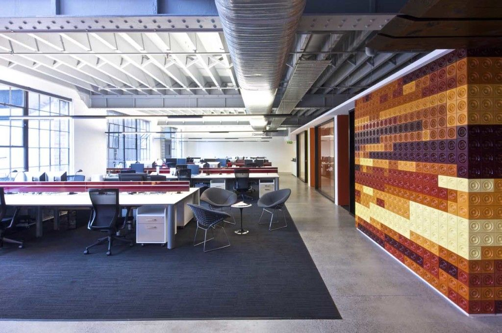 inspiring office spaces. Scenic And Creative Office Space With Large Layout Lego Wall Industrial Style Inspiring Interior Design Ideas For Your Inspirations Spaces
