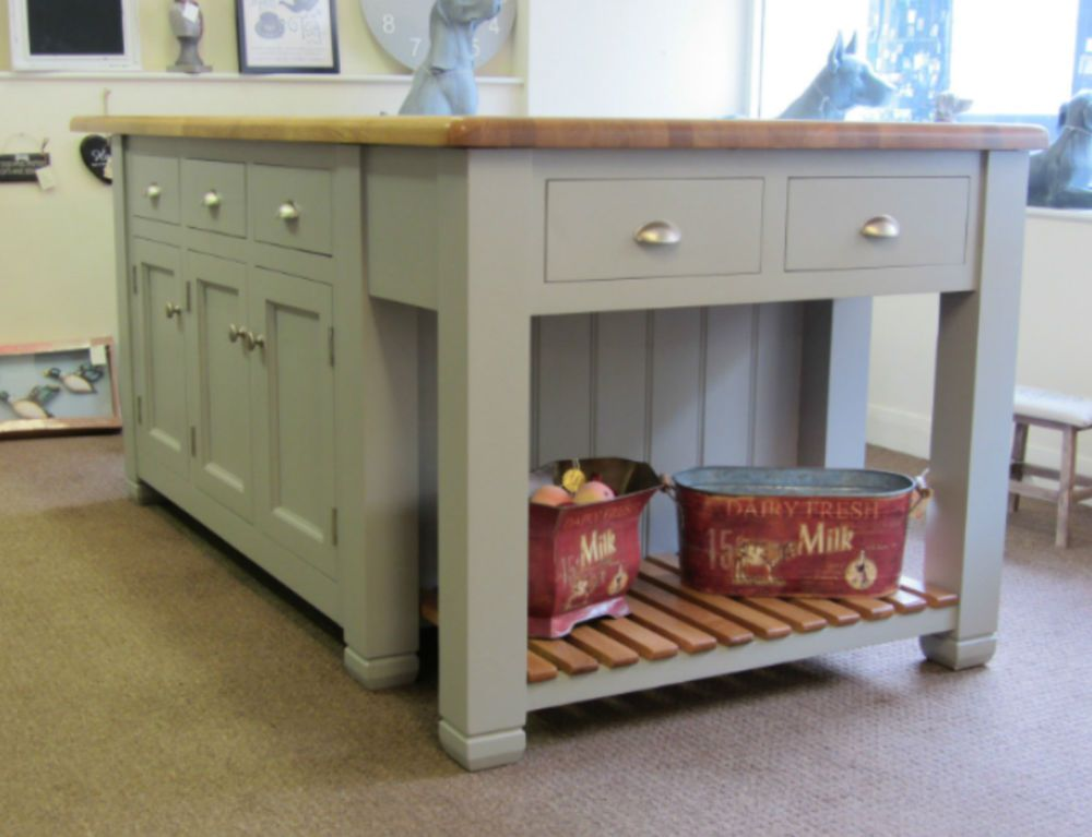 ex display murdoch troon painted pine kitchen island unit oak top