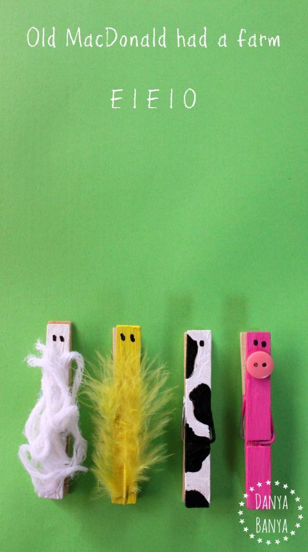 Diy Old Macdonald Peg Farm Animals Art Pinterest