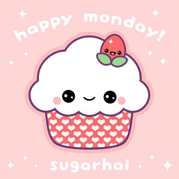 Happy Monday Let S Celebrate With Cake A Kawaii Pink Cupcake From Sugarhai Kawaii Doodles Cute Drawings Kawaii Wallpaper