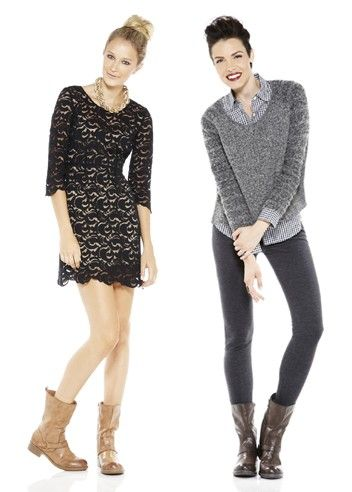 Pair a ladylike lace dress with a bold, chunky gold necklace. Take your tights up a notch with a gingham shirt and a cozy think knit sweater.