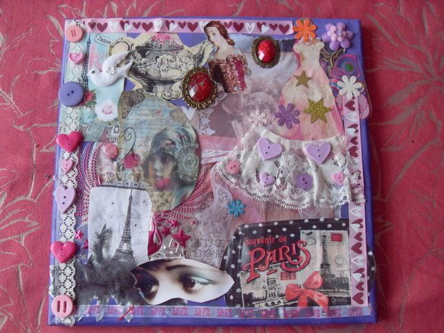 Canvas Collage Paris Theme, For Teenagers Girls Room, Wall Decor Home Art £10.00