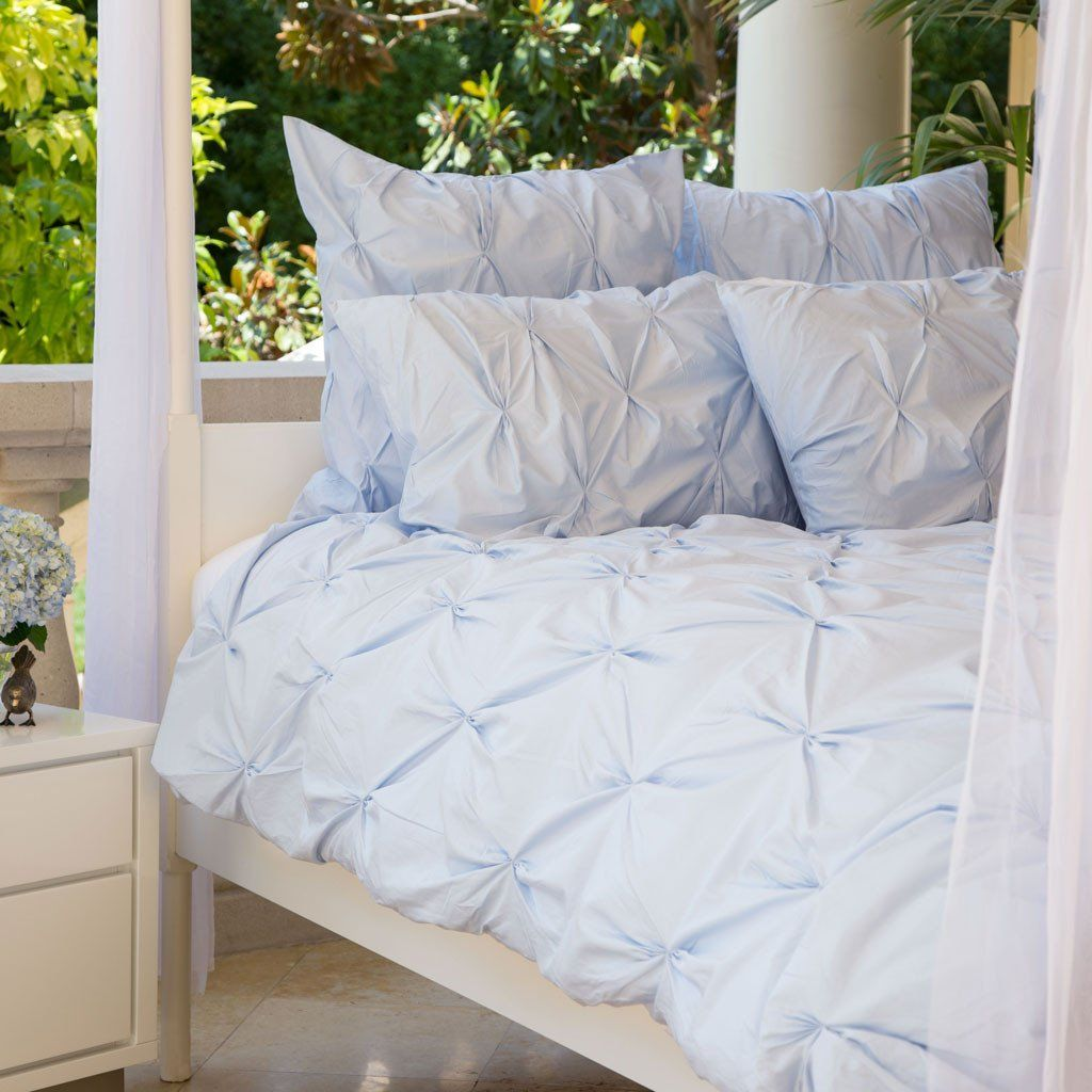 Bedroom Inspiration And Bedding Decor | The Valencia Light Blue Pintuck Duvet  Cover | Crane And
