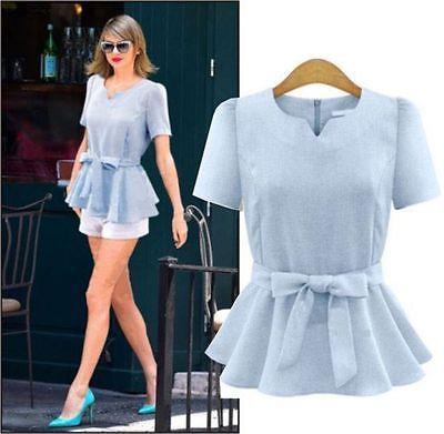 d51da41f2 Cuello-en-V-elegante-de-mujer-con-volados-y-Manga-Corta-Blusa-De-Lino- Cintura-Arco-Camiseta-Prendas