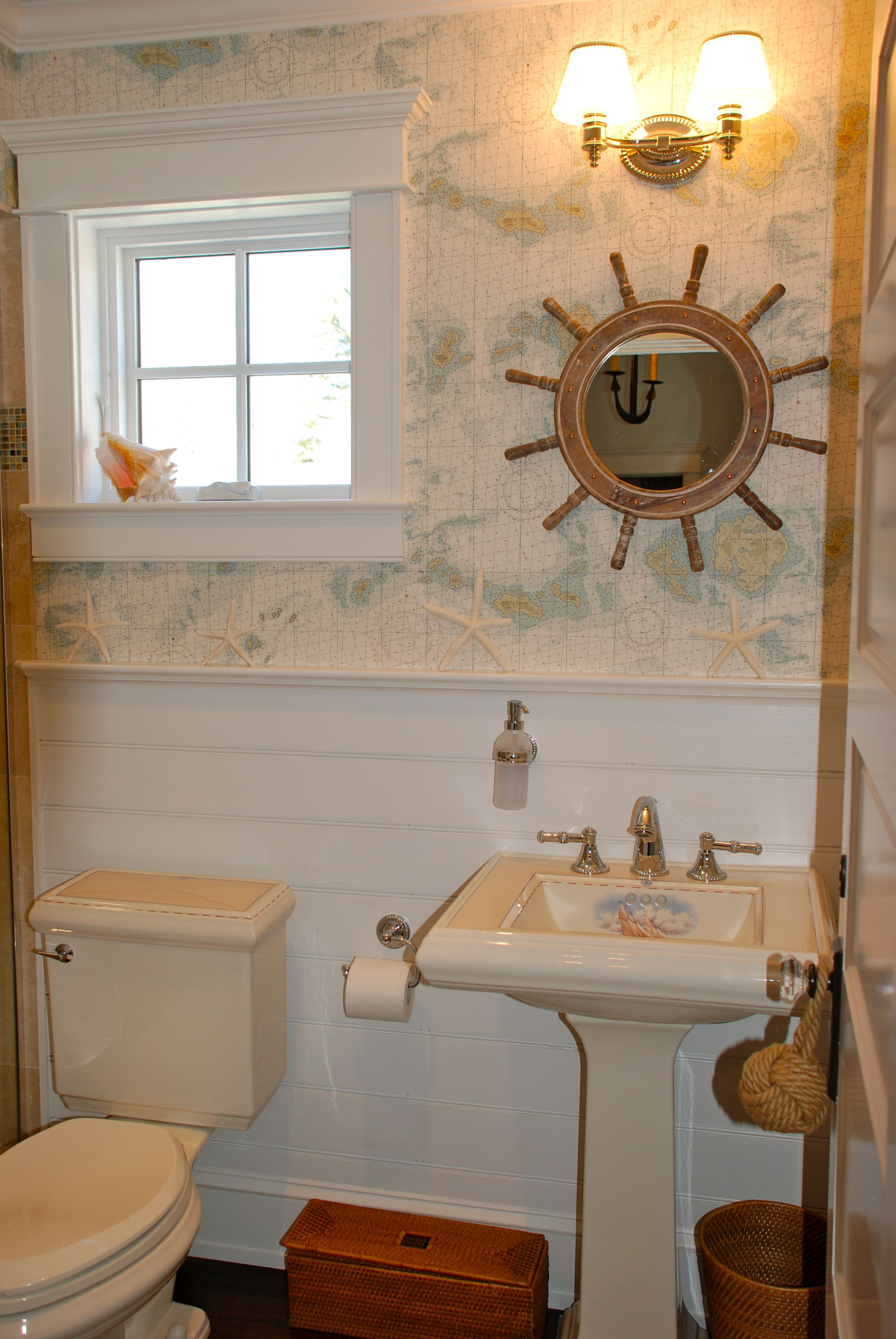 Ralph Lauren Wallpapered Powder Room Great nautical wallpaper