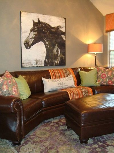 Grey Wall Brown Sofa Punches Of Orange And Green Brown Leather