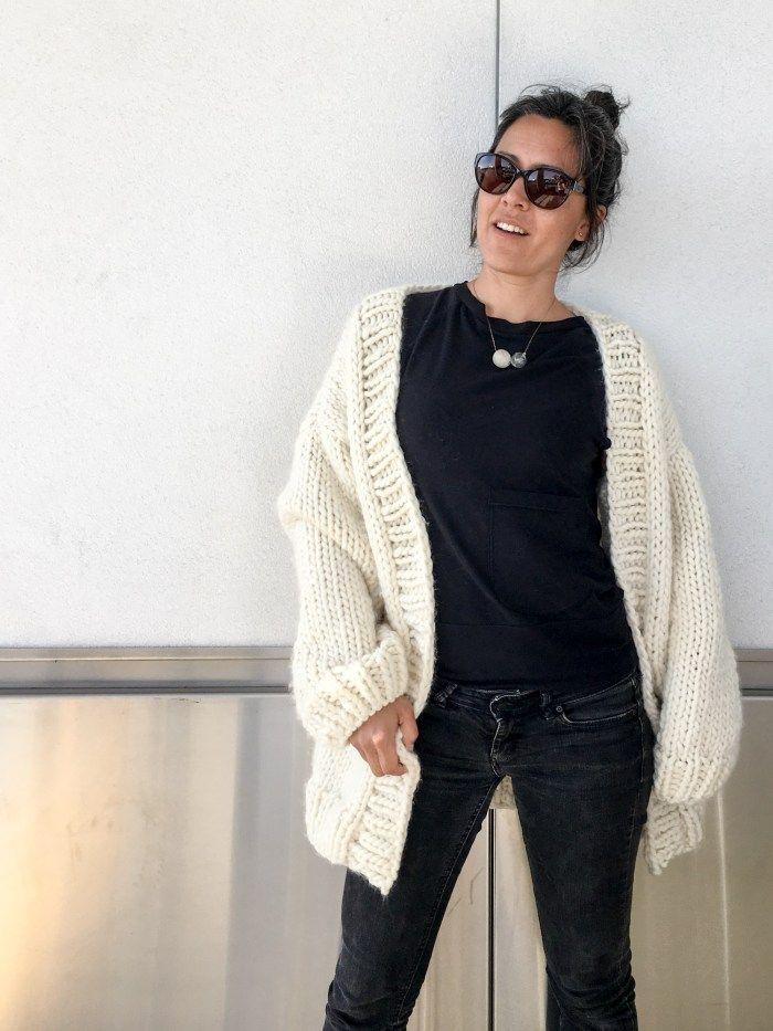 Simone Chunky Cardigan Knitting Pattern and Kit - Flax & Twine