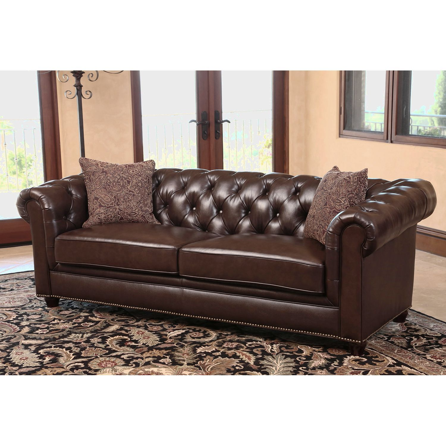Chesterfield Top Grain Leather Sofa