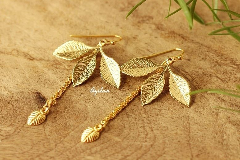 Trendy Golden leaf handmade earrings