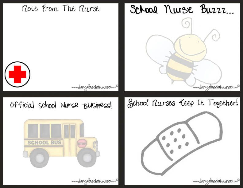 Printable School Nurse Note Cards Diary Of A School Nurse School