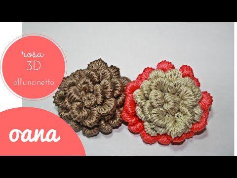 rosa 3D all\'uncinetto - YouTube | Crochet | Pinterest
