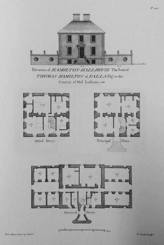 Hamilton Hall House Usually Known As Fala House Midlothian Scotland Architect William Ad Vintage House Plans Architectural Floor Plans Luxury House Plans
