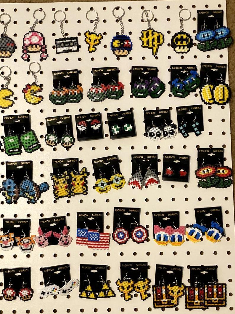 115 Geeky Fun Movie Game Inspired Earrings Keychains Etsy Artkal Bead Good Movies Movie Game