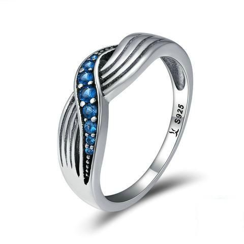 Sea Waves Blue Ring Beautiful Ocean Inspired Ring Sterling Silver