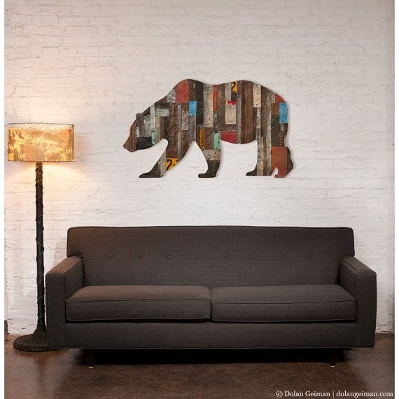 Bear Wall Art in the woods california bear metal wall artdolangeiman on etsy