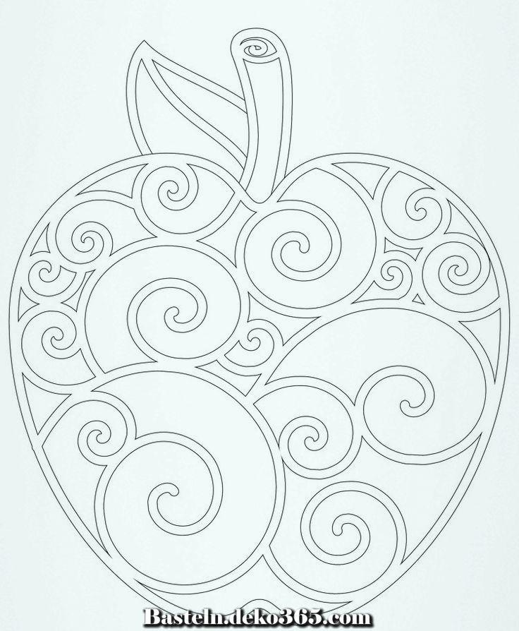 Apple Zeichnung Von Spiralen Basteln Mit Kids Mandalas Kinder Stickereimuster Ausmalbilder