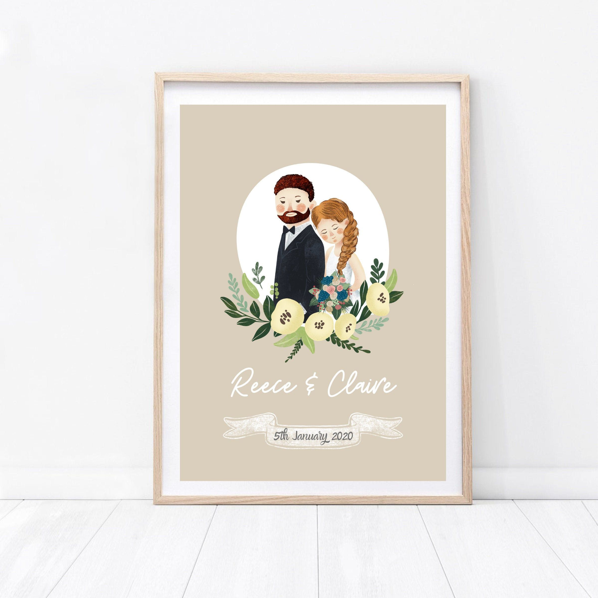 Weddng Print Personalised Wedding Print Gift For Bride Gift For Groom Couples Anniversary Print Gift For Bride And Groom Wedding