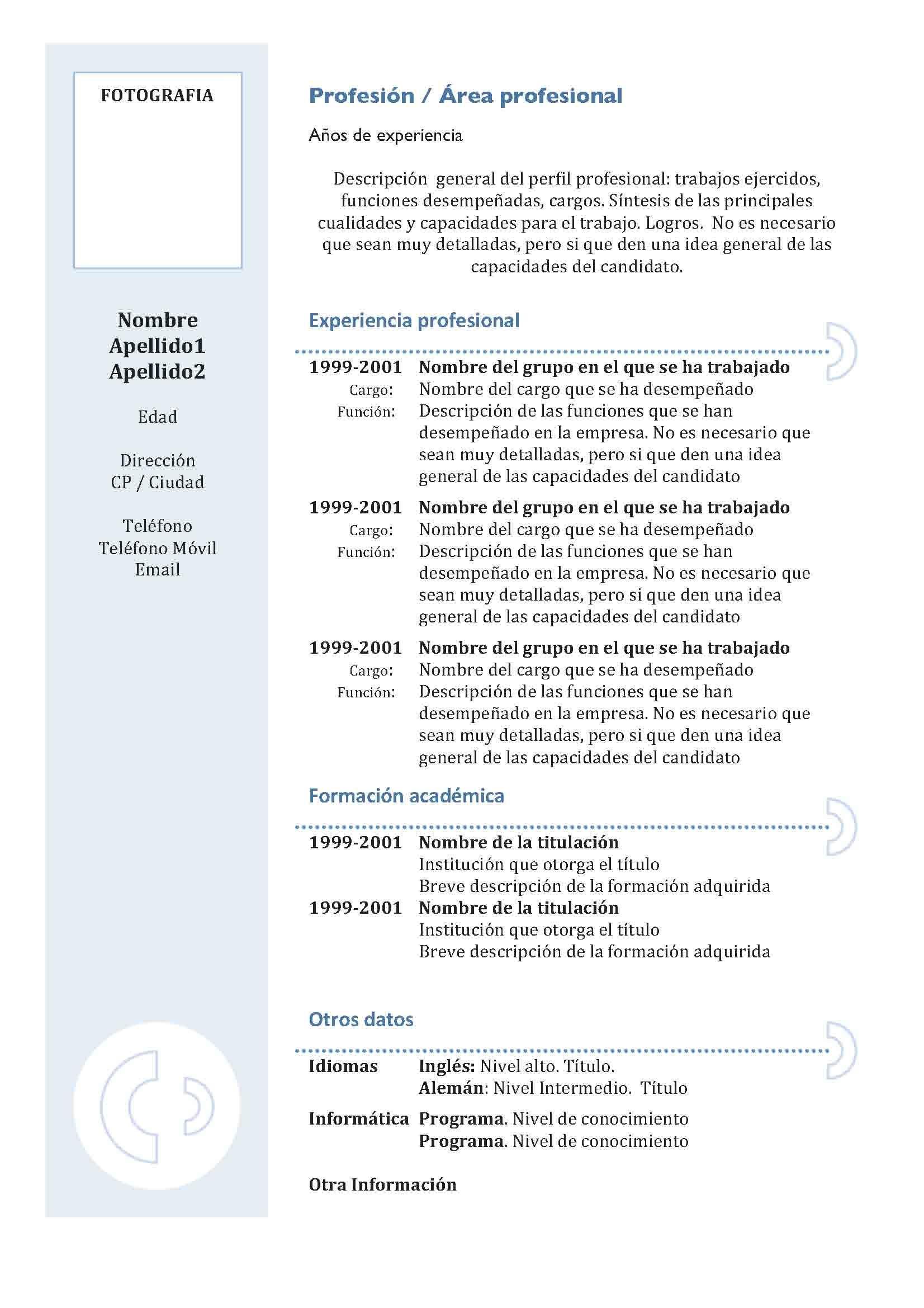 Plantillas Curriculum Vitae En Espanol Google Search Modelo De