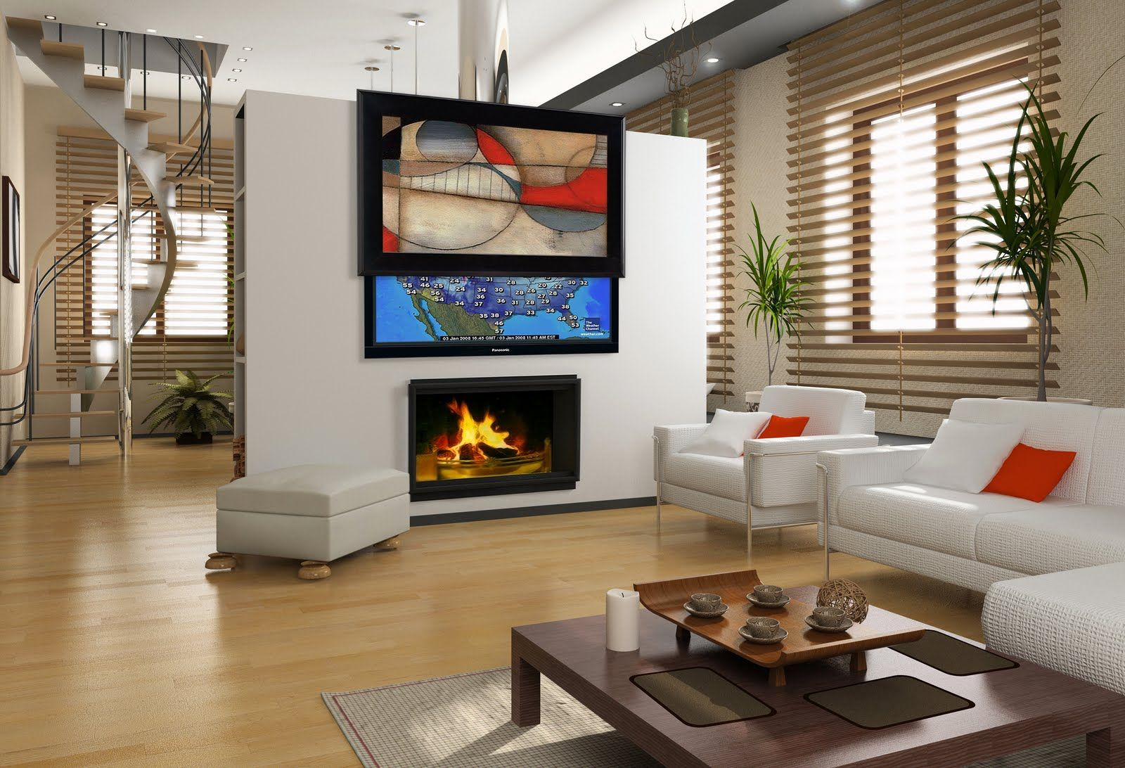 Dazzling Living Room Decorated With White Wall Paint Color And Mounted TV LCD L