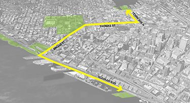 Design Perspectives: After decades of talk, there's action on Lake2Bay Lake2Bay will be a kind of super-green route — mostly on streets — from South Lake Union to Seattle Center and the waterfront.