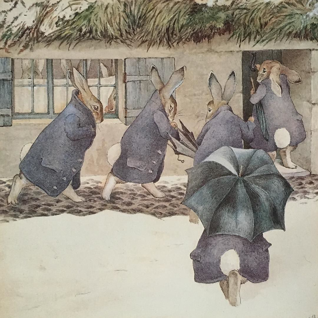 The Easter days are over the bunnies seeking shelter from the rain today. Illustration 1892 by #beatrixpotter #rabbits #bunnies #watercolor #vamuseum #victoriaandalbertmuseum by dorteringtved07