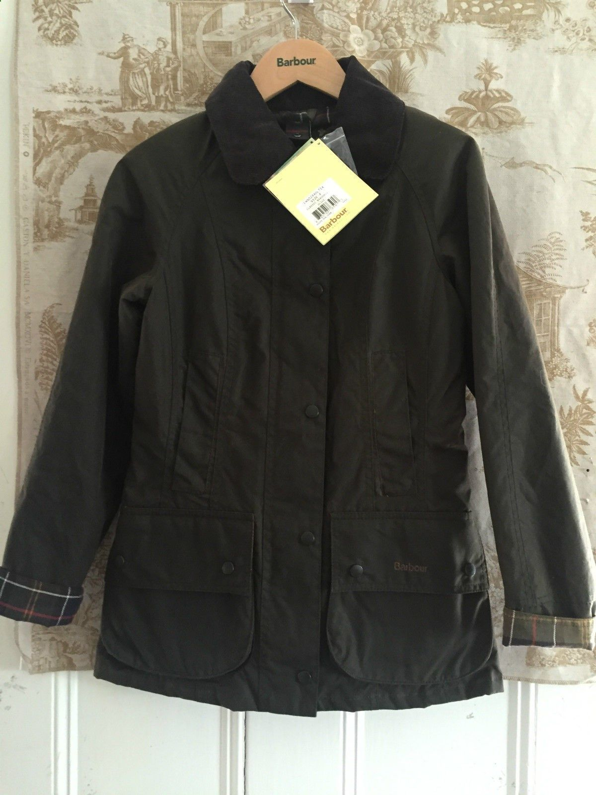 4dd971a8660 www.athenefashion... nice Quick Ends Soon NEW BARBOUR WOMENS CLASSIC  BEADNELL WAXED JACKET OLIVE GREEN UK 4 US 0 2