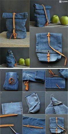 f88e3a60c47c1 Bolsa de calça jeans com fuxico  Passo a passo fácil + 48 modelos ...