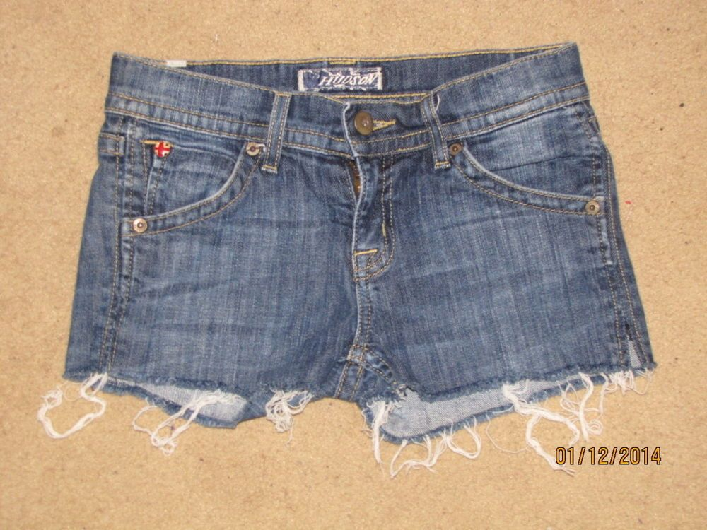 HUDSON Authentic Jeans Shorts Raw Edging Triangle Back Pocket Girls 12