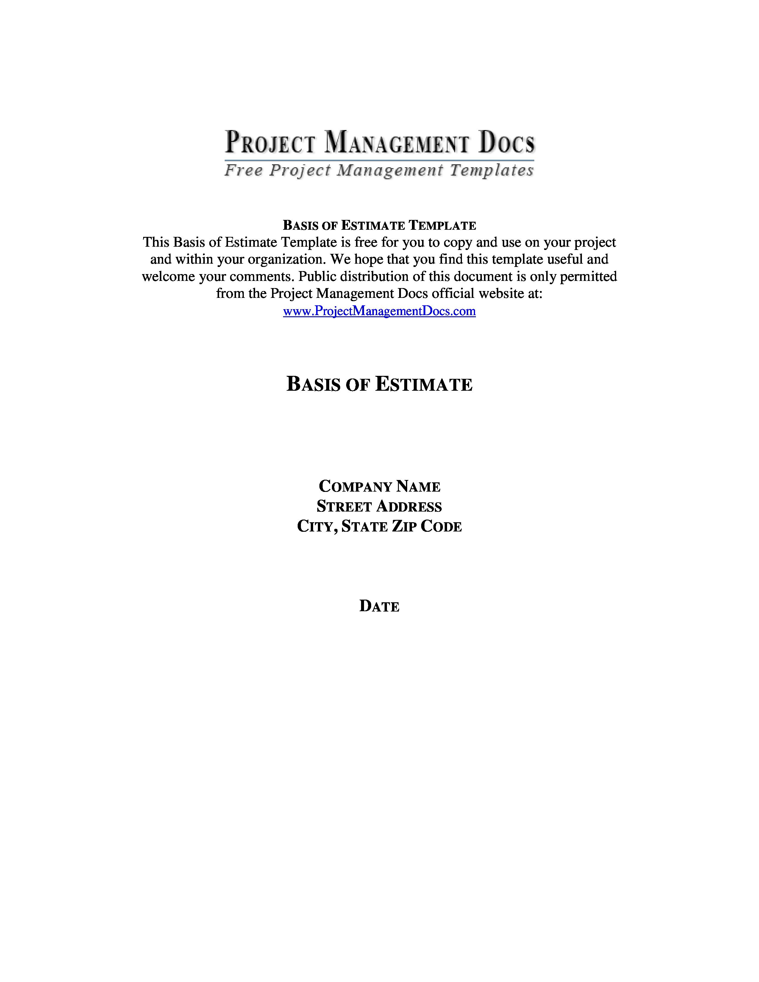 Basis Of Estimate Template